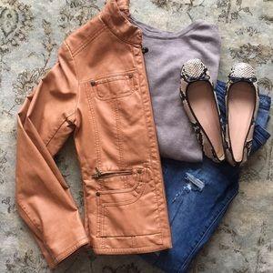 Light Brown Faux Leather Gallery Zipper Jacket